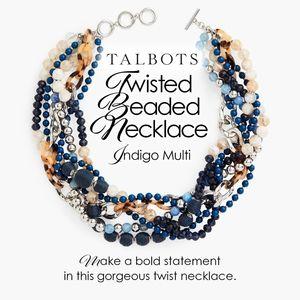 Twisted Beaded Necklace Indigo Multi